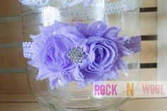 Duo Shabby chic rose stretch headband 6months to by RockNWool, $6.00