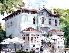 """ORHAN GÜLER Türkish Artist Painter Watercolor - Suluboya IWS nin düzenlediği 4. Uluslararası""""Homeros sanat yoluyla sevgi ve barış"""" suluboya festival ve yarışmasında 15 esere mansiyon ödülü verildi. Orhan Güler bu eseriyle mansiyon ödülü aldı... Tebrik ederim.... Watercolor Artist, Artsy Fartsy, Architecture Art, Mansions, House Styles, Crafts, Home Decor, Haus, Kunst"""