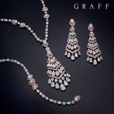"""Graff Diamonds' exquisite new jewellery suite features carats of the very finest pink and white diamonds. Graff Jewelry, Pink Jewelry, Luxury Jewelry, Bridal Jewelry, Diamond Jewelry, Jewelry Sets, Men's Jewellery, Designer Jewellery, Jewlery"