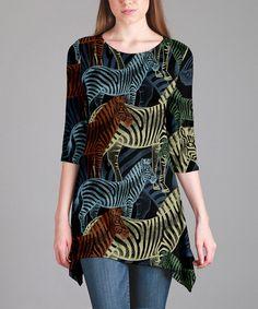 Love this Black Zebra Sidetail Tunic - Plus Too on #zulily! #zulilyfinds