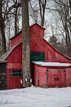 red barn in snow