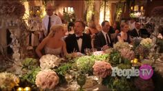 The happy couple at their beautiful head table.  Table decor at Jessica Simpson & Eric Johnson's wedding in July 2014
