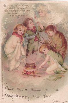 NEW YEAR; Angel watches Kids , PU-1904m ; TUCK