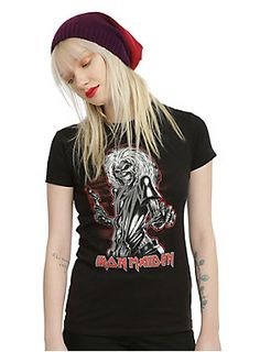 <p>Fitted black tee from Iron Maiden with a <i>Killers</i> inspired design of Eddie with an axe. Shudder.</p>  <ul> 	<li>100% cotton</li> 	<li>Wash cold; dry low</li> 	<li>Imported</li> 	<li>Listed in junior sizes</li> </ul>