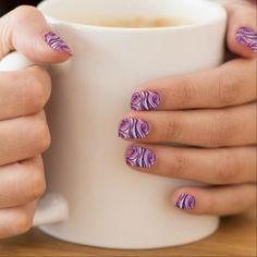 Purple and 'white swirling artwork nails minx nail wraps - home gifts ideas decor special unique custom individual customized individualized