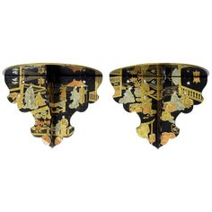 Pair of Chinoiserie Black Lacquer Bracket Shelves | From a unique collection of antique and modern wall brackets at http://www.1stdibs.com/furniture/wall-decorations/wall-brackets/