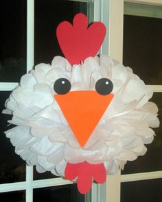 Chicken Rooster tissue paper pompom kit Old MacDonald farm party. $9.99, via Etsy.
