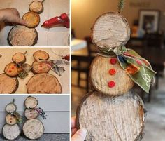 Easy Snowman Log Slice Decoration...these are the BEST Homemade Christmas craft…