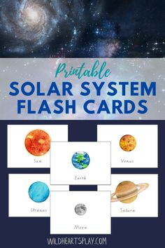 This set of 10 watercolour solar system flash cards can be can be used for a wide range of learning activities and games, both at home and in the classroom. Includes Sun, Mercury, Venus, Earth, Moon, Mars, Jupiter, Saturn, Uranus and Neptune. By Wild Hearts Play. #wildheartsplay #etsy #flashcards #printable #printableflashcards #space #spaceflashcards #solarsystem #solarsystemflashcards Solar System Activities, Space Activities For Kids, Solar System Projects, Printable Activities For Kids, Science For Kids, Kindergarten Activities, Science Activities, Printable Cards, Printables