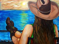 "She is a ""Cali-Texan"" acrylic/oil painting by Heather Bond"