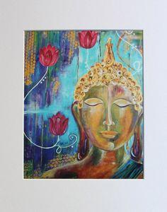 "Buddha print, Buddha art, Buddha handmade, Buddha wall art,Buddhism, Spiritual art, ""Buddha Awakening"" 10x8 Photo Print (unmatted/unframed)"