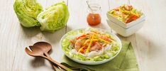 Deconstructed salad rolls with rice noodles, shrimp, cucumber, mango, red pepper, carrot and green onions and a delicious Vietnamese Dressing. You'll love this recipe! #Salad