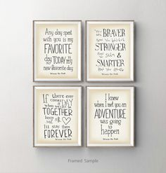 Winnie the Pooh nursery art print set of 4, baby shower gift, Kids room wall art, Disney movie quotes wall decor, dorm decor on Etsy, US$45,00