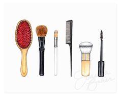 Beauty Brushes Art Print