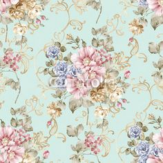 flowers seamless pattern background - For easy making seamless p Wall Decal