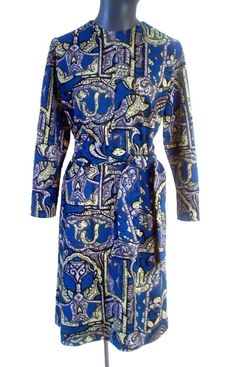 1960s Bust 40 Blue Abstract Print Dress by VintagePatternsCo1