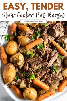 There is nothing more comforting than a big pot roast with hearty vegetables. This is the easiest, most perfect Pot Roast recipe, slow cooked to perfection!