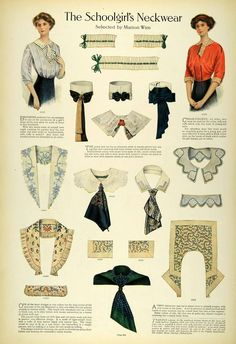 The schoolgirl's neckwear, Edwardian, 1911