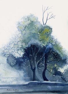 """Treescape"" aquarelle de Charlene Madden, artiste américaine."