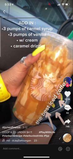 Secret Starbucks Recipes, Starbucks Menu, Starbucks Frappuccino, Healthy Starbucks Drinks, Yummy Drinks, Healthy Drinks, Ninja Coffee Bar Recipes, Coffee Drink Recipes, Smoothie Drinks