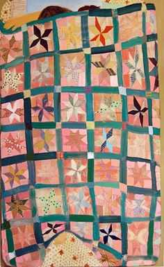 Giordanne Salley  Quilt Painting  2012  oil and mixed paper on canvas  78in x 50in