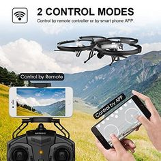 WIFI FPV Version Drone with HD Camera DBPOWER Headless Mode Quadcopter with 2 Batteries Long Flying Time Drone for Beginners ** You can get additional details at the image link. (This is an affiliate link) Drone App, Mode 3d, Time Images, Outdoor Parties, Technology Gadgets, Picture Video, Wifi, Remote, Smartphone