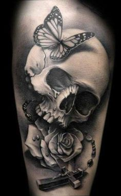 Beautiful black and grey skull, rose and butterfly tattoo by Dani Martos Sanchez