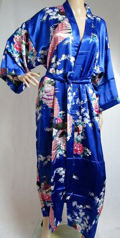 Sapphire Blue Silk LONG Bathrobe, House coat, kimono, dressing gown personalised custom bridesmaid bride mother of the bride on Etsy, $56.73 CAD