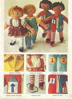 1970s Learning Aid Dolls Set of Rag Dolls by CloesCloset on Etsy