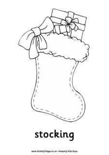 Christmas stocking colouring page