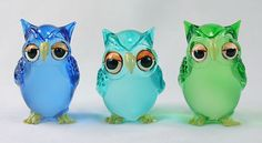 Figurine Animal Hand Blown Glass Owl 3 colors 3 pieces