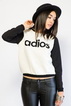 'ADIOS' QUILTED CONTRAST PULL OVER TOP $20.99