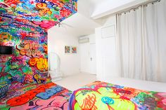 """""""Internationally recognized graffiti artist Tilt has just completed this eye-popping interior design work for the Au Vieux Panier hotel in Marseille, France. The hotel has just five rooms that are annually reconceptualized by commissioned artists and designers, somewhat similar to NYC's Carlton Arms."""" COLOSSAL art & design"""