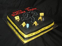 Crime scene themed 13th birthday cake for a future forensic CSI's murder mystery party
