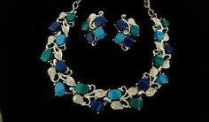 Vintage Silver Tone Blue & Green Thermoset Necklace with Earrings #Unbranded