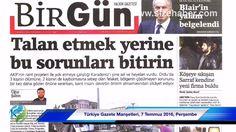 Türkiye Gazete Manşetleri, 7 Temmuz 2016, Perşembe