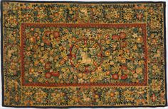 Table carpet with unicorns Date: ca. 1600 Culture: Dutch Medium: Wool, silk (14-16 warps per inch, 6 per cm.) Dimensions: H. 60 x W. 92in. (152.4 x 233.7cm) Classification: Textiles-Tapestries Credit Line: Gift of P. A.B. Widener, 1970 Accession Number: 1970.250
