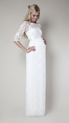 Long white maternity dress