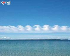 Formações de Kelvin Helmholtz. Esse tipo de nuvens raramente é observado, pois quando se formam, logo se dissipam. Não se parecem com aquelas que desenhamos quando éramos crianças?