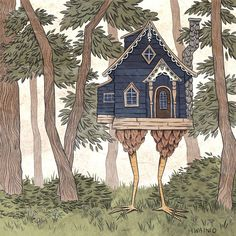 Baba Yaga House, Art Nouveau, Witch Tattoo, Russian Folk Art, Witch House, House Drawing, Faeries, Folklore, Art Inspo