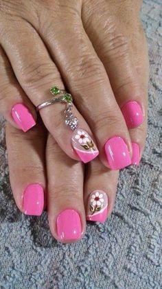 Uñas Pink Nail Art, Flower Nail Art, New Nail Art, Cute Nail Art Designs, Toe Nail Designs, Fabulous Nails, Gorgeous Nails, Cute Nails, Pretty Nails