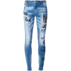 Philipp Plein 'Think Blue' skinny jeans (€1.440) ❤ liked on Polyvore featuring jeans, blue, 5 pocket jeans, print jeans, denim skinny jeans, patterned jeans and frayed jeans