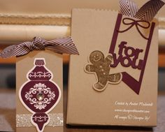 The Mini Treat Bag Thinlits dies make a super cute little bag. Instead of just making a flat bag, I cut out two of the large bag pieces and. Al Image, Little Bag, Treat Bags, Stampin Up, About Me Blog, Gift Wrapping, Treats, Cookies, Mini