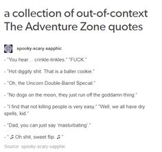 Out of context The Adventure Zone quotes
