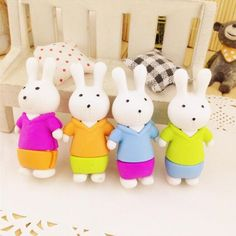 1pcs/ack Kawaii 3D Rabbit design Detachable Eraser funny student gift kids's Puzzle Toy office school Stationery supplies