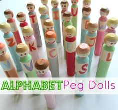Alphabet Peg Dolls - a fun way to play with letters. How do you make your environment print rich ?