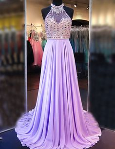 Classy Prom Dresses, A Line Cowl Neck Sleeveless Long Pleated Beaded Lilac Prom Dress Open Back Prom Dresses Prom Dresses Long Lilac Prom Dresses, Pageant Dresses For Teens, Classy Prom Dresses, Open Back Prom Dresses, Elegant Bridesmaid Dresses, Elegant Dresses For Women, Prom Dresses 2017, Beautiful Dresses, Formal Dresses