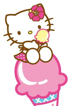 Hello Kitty on top of a pink ice cream cone. Sanrio Hello Kitty, Hello Kitty Fotos, Hello Kitty Imagenes, Hello Kitty Art, Hello Kitty My Melody, Kitty Cam, Hello Kitty Backgrounds, Hello Kitty Wallpaper, Hello Kitty Pictures