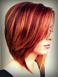 Beautiful Red Colored Medium Hairstyles for Women Pictures