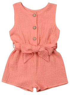 Your baby girl will surely look fabulous with this Coral Bowknot Sleeveless Romper. Shop it today. Source by thetrendytoddlers dresses girl Frocks For Girls, Dresses Kids Girl, Little Girl Outfits, Little Girl Fashion, Fashion Kids, Kids Outfits, Toddler Fashion, Toddler Outfits, Cute Baby Dresses